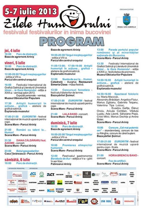 program zilele humorului 2013